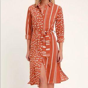 🆕Lulus Rust Orange Long Sleeve Shirt Dress
